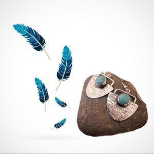 Silver Boho Style 1/2 CircleTurquoise Earrings
